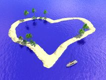 Island heart. Scene of the island in form heart and yacht Royalty Free Stock Images