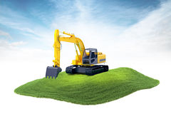 Island with heavy excavator machine floating in the air on sky b. 3d rendered illustration of heavy excavator machine floating in the air on sky background Royalty Free Stock Image