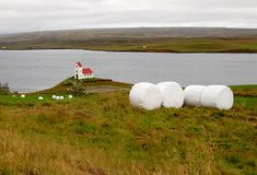 Island-Heuschober, traditionelle isländische Landschaft Stockbild
