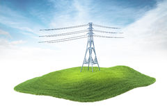Island with high voltage tower floating in the air on sky backgr. 3d rendered illustration of high voltage tower floating in the air on sky background Royalty Free Stock Images