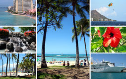 Island of Honolulu, Hawaii. Images of Honolulu with the famous Waikiki Beach, Hawaii Royalty Free Stock Photos