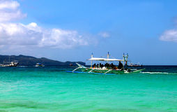 Island Hopping Boat in Boracay Stock Image