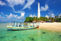Island hopping in Indonesia. Heading to Lengkuas Island in Belitung off the cost of Sumatra in Indonesia. Lengkuas Island is a small tropical island famous for Royalty Free Stock Images