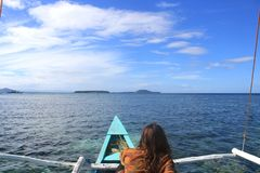 Island hopping in the Philippines. On small boat Stock Photos