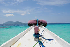 Island Hopping. This photo taken on Karimun Jawa Island, Central Java, Indonesia. Tourists usually rent a traditional boat to hopping some islands there Royalty Free Stock Photography