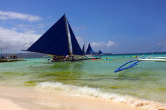 Island Hopping Sail Boat in Boracay Royalty Free Stock Photos