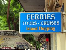 Island Hopping Sign, Athens Royalty Free Stock Photos
