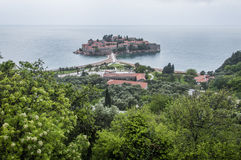 Island-hotel Sveti Stefan. The beaches of Sveti Stefan are formed on both sides of the strip that connects the town-hotel of Sveti Stefan with the coast. Those Stock Photos