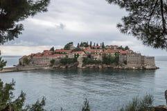 Island-hotel Sveti Stefan Stock Photos