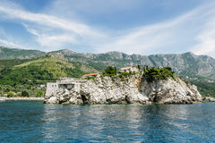 Island-hotel of Sveti Stefan in Montenegro on a  summer day Royalty Free Stock Image