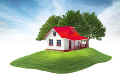 Island with house and trees floating in the air on sky backgroun. 3d rendered illustration of house and trees floating in the air on sky background Royalty Free Stock Images