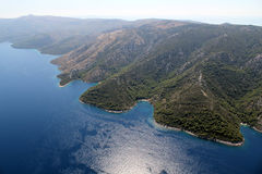Island Hvar from air Stock Photography