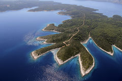 Island Hvar from air stock photo