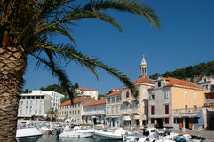 Island Hvar And Its Harbor With Tourist Boats Stock Images