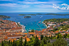 Island of Hvar bay aerial view Stock Photography