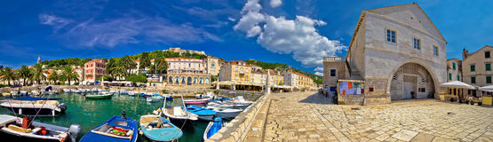 Island of Hvar old waterfront Royalty Free Stock Photos