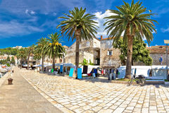 Island of Hvar palm waterfront Stock Photography