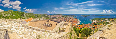 Island of Hvar panoramic aerial view Stock Image