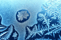The island of ice. Window frost in a could winter Royalty Free Stock Photography