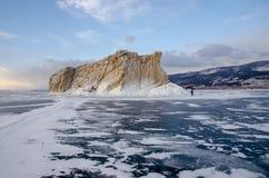 Island icebound Lake Baikal royalty free stock photo