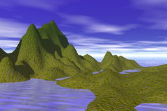 Island illustration. A green island with hills in the middle of the ocean, illustration Royalty Free Stock Photo