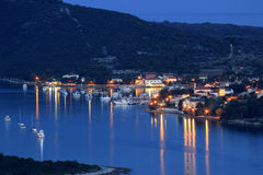 Island of Ilovik blue hour view. Island of Ilovik safe harbor, blue hour view, Dalmatia, Croatia Stock Photography