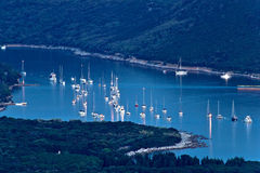 Island of Ilovik safe nautical harbor at dusk. Croatia Stock Image