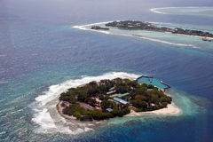 Island at the Indian ocean. ю Atoll reef Stock Photos