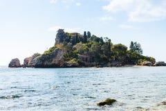 Island Isola Bella in Ionian Sea, Sicily, Italy Stock Photo