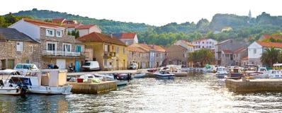 Island of Iz pictoresque harbor. Dalmatia, Croatia Royalty Free Stock Photography