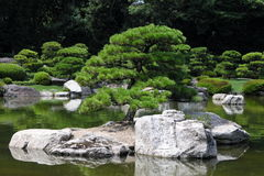 Island in japanese garden Stock Photo