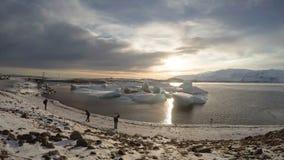 Island Jokulsarlon glaciärlagun timelapse arkivfilmer