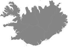 Island - Karte der Regionen stockfotografie