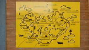 Island-Karte mit Marksteinen Stockfoto