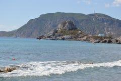 Island Kastri and Aegean Sea in Greece Stock Photos