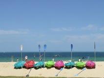 Island Kayaking. Kayaks on the beach at Moreton Island Royalty Free Stock Image