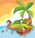 Island kids. Illustration of kids in an island Stock Images