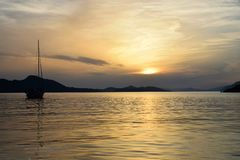 Island of kolocep sunset-Croatia royalty free stock image