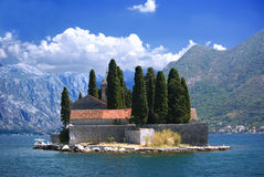 Island in Kotor bay. St. George (Ostrvo Sveti Đorđe) island located int the bay of Kotor, Montenegro stock photo