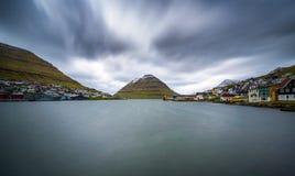 The island of Kunoy viewed from city of Klaksvik in the Faroe Islands, Denmark