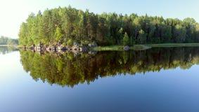 Island on Ladoga lake under sunlight Royalty Free Stock Photo