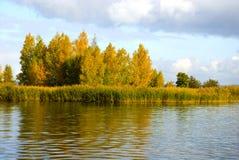 Island   on lake in the autumn Stock Photo