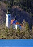 Island of Lake BLED in SLOVENIA Royalty Free Stock Photo