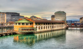 Island on the lake in Geneva Royalty Free Stock Photo