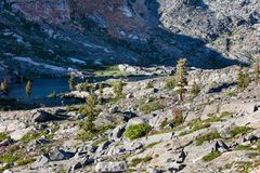 Mountain Lake Scenery in Desolation Wilderness, Northern California. Island Lake is an incredibly scenic mountain lake, surrounded by granite mountains, in the royalty free stock photography