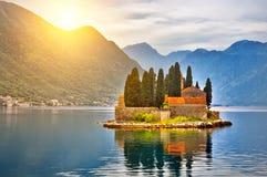 Island on the lake in Montenegro Stock Image