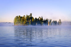 Island in lake with morning fog. Island with pine trees in morning fog on lake at sunrise Royalty Free Stock Photography