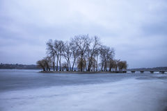 Island on the lake and nature in winter. Island in winter, the frozen lake in evening Stock Image