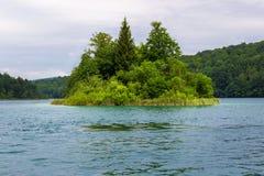 Island on the lake. Island on the Plitvice Lakes, National Park of Croatia Stock Photo