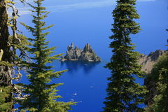 Island in the Lake. A rocky island in Crater Lake viewed from the rim of the lake Stock Photo